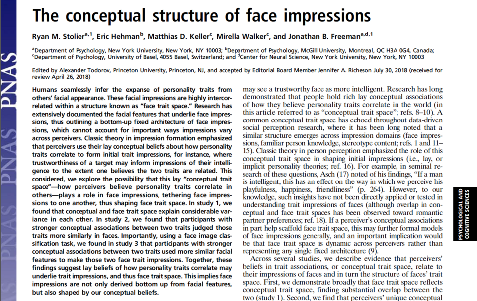 The Conceptual Structure of Face Impressions